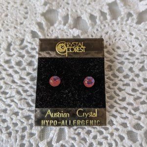 Austrian Crystal Pink Stud Earrings